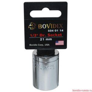 "Торцевая головка Bovidix на 1/2"", 6 граней, 21 мм, хромированная"