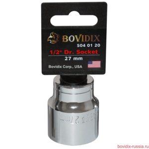 "Торцевая головка Bovidix на 1/2"", 6 граней, 27 мм, хромированная"