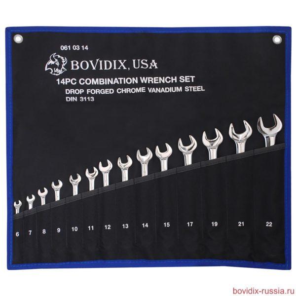 Набор комбинированных гаечных ключей Bovidix из легированной хромо-ванадиевой стали (Cr-V)