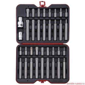 Набор бит и адаптеров Bovidix (36 предметов) в металлическом кейсе красного цвета