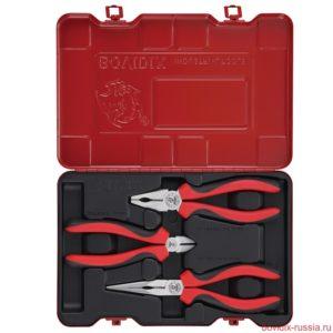 Набор пассатижей Bovidix: плоскогубцы и бокорезы в металлическом кейсе красного цвета