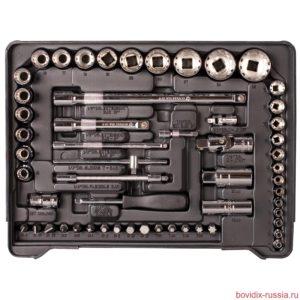 Набор комбинированных гаечных ключей, трещоточных ключей и торцевых головок Bovidix в ложементе