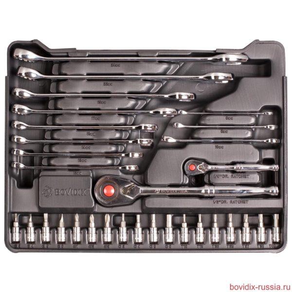 Набор комбинированных ключей и торцевых головок Bovidix в ложементе