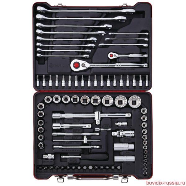 Набор комбинированных гаечных ключей, трещоточных ключей, бит и торцевых головок Bovidix в металлическом кейсе