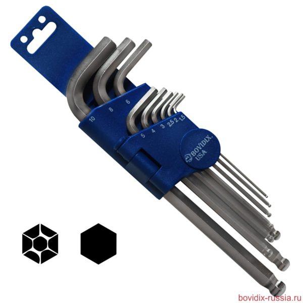 Ключи шестигранные Bovidix в наборе, размеры: 1.5-10 мм
