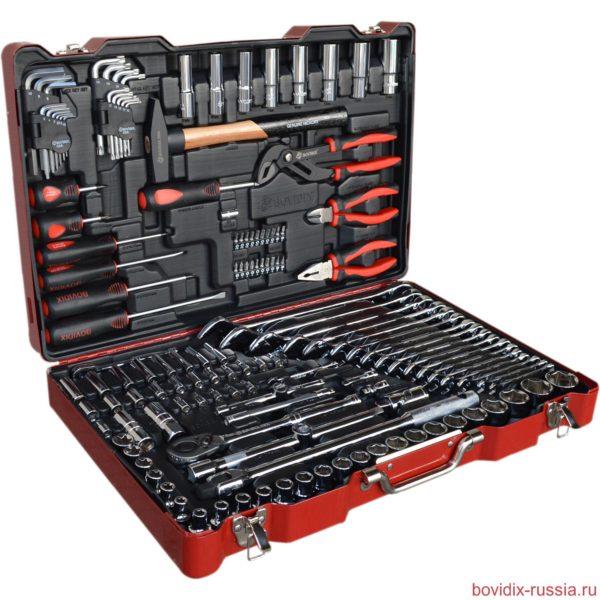 Набор ручного инструмента и торцевых головок Bovidix в металлическом кейсе